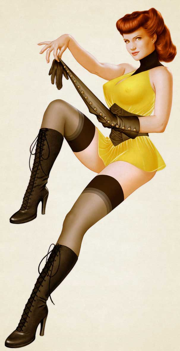 pin up girls art. Jean cites the works of noted pin-up artist Alberto Vargas as
